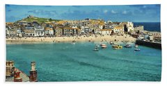 Beach From Across Bay St. Ives, Cornwall, England Hand Towel