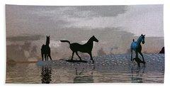 Beach Of Wild Horses Hand Towel