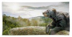 Bear In Tree At Smoky Mountains Park Bath Towel