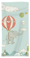 Bath Towel featuring the painting Floating Elephant And Bear Whimsical Animals by Matthias Hauser