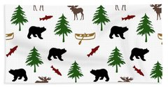Bear Moose Pattern Bath Towel