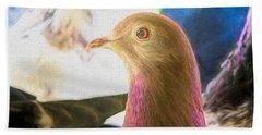 Beautiful Homing Pigeon Painted Bath Towel