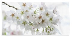 Beautiful White Cherry Blossoms Hand Towel