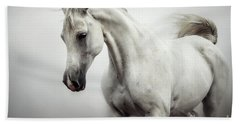Bath Towel featuring the photograph Beautiful White Horse On The White Background by Dimitar Hristov