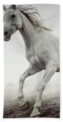 Bath Towel featuring the photograph Beautiful White Horse Running In Mist by Dimitar Hristov