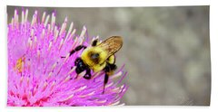 Bee On Pink Bull Thistle Hand Towel