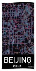 Beijing City Map Hand Towel