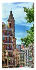 Bath Towel featuring the photograph Bell Tower And Apartments In Barcelona by Eduardo Jose Accorinti