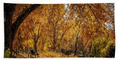 Bench With Autumn Leaves  Bath Towel