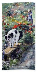 Hand Towel featuring the painting Bicolour Cat In Rose Garden by Ryn Shell
