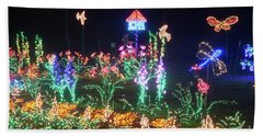 Birdhouse Garden Christmas Lights At Night Bath Towel