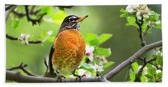Birds - American Robin - Nature's Alarm Clock Bath Towel