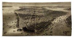 Bird's-eye View Of New York City 1851  Hand Towel