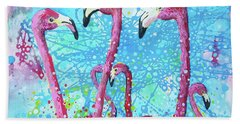 Hand Towel featuring the painting Birds Of A Feather by Tilly Strauss