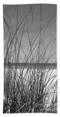 Black And White Beach View Bath Towel