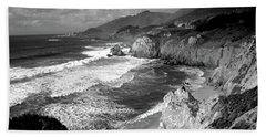 Black And White Big Sur Hand Towel