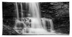 Black And White Photo Of Sheldon Reynolds Waterfalls Bath Towel