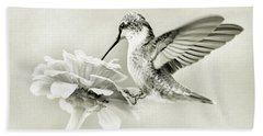 Black And White Ruby Throated Hummingbird Bath Towel
