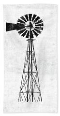 Black And White Windmill 1- Art By Linda Woods Bath Towel