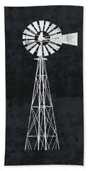 Black And White Windmill 2- Art By Linda Woods Bath Towel