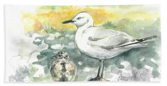 Black-billed Gull Family Bath Towel