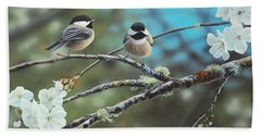 Black Capped Chickadees Hand Towel