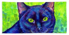 Black Cat With Chartreuse Eyes Hand Towel