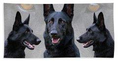 Black German Shepherd Dog Collage Bath Towel