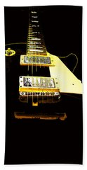Black Guitar With Gold Accents Hand Towel