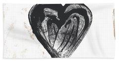 Black Heart- Art By Linda Woods Bath Towel