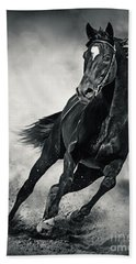 Bath Towel featuring the photograph Black Horse Running Wild Black And White by Dimitar Hristov