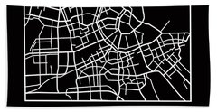 Black Map Of Amsterdam Hand Towel