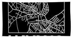 Black Map Of Havana Bath Towel