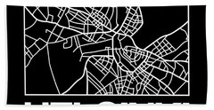Black Map Of Helsinki Bath Towel