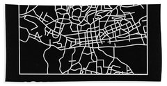 Black Map Of Johannesburg Hand Towel
