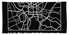 Black Map Of Washington, D.c. Bath Towel