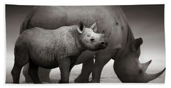 Black Rhinoceros Baby And Cow Hand Towel