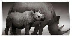 Black Rhinoceros Baby And Cow Bath Towel