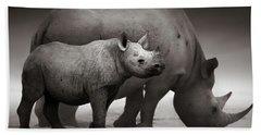 Black Rhinoceros Baby And Cow Hand Towel