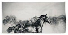 Bath Towel featuring the photograph Black Stallion Horse by Dimitar Hristov