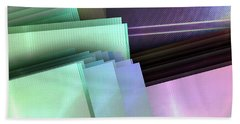 Blank Reflective Aluminum Plates. Blue, Pink And Purple. Fashion Abstract Background. Bath Towel