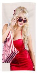 Blond Woman Shopping Hand Towel