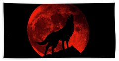 Hand Towel featuring the photograph Blood Red Wolf Supermoon Eclipse 873l by Ricardos Creations