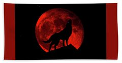 Blood Red Wolf Supermoon Eclipse 873l Hand Towel