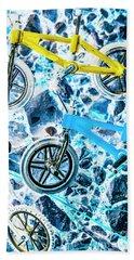 Blue Bike Background Bath Towel