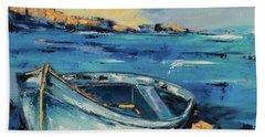 Blue Boat On The Mediterranean Beach Hand Towel
