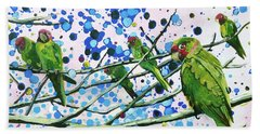 Hand Towel featuring the painting Blue Dot Parakeets by Tilly Strauss