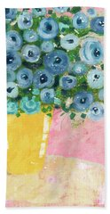 Blue Flowers In A Yellow Vase- Art By Linda Woods Hand Towel