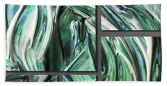 Blue Green Gray Abstract Collage Hand Towel