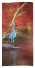 Blue Heron Red Background Hand Towel